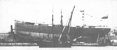 The SS William Penn, ready for launch, Waterford