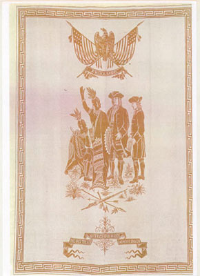 Bessbrook Damask Linen piece, commemorating Penns Treaty with Native Americans