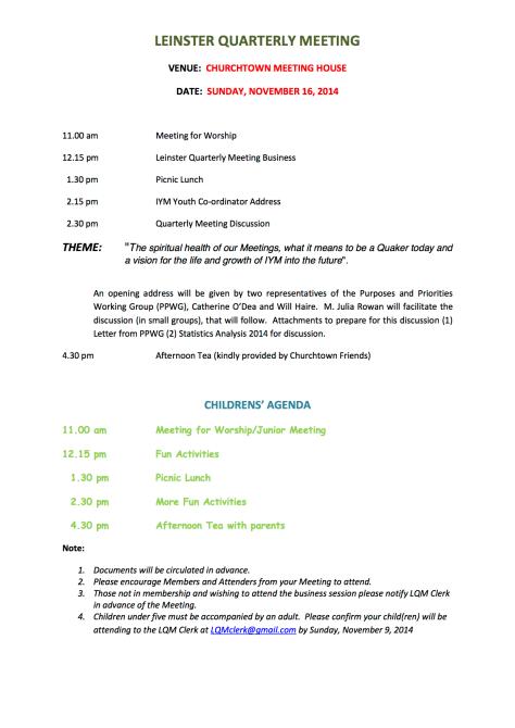 Leinster Quarterly Meeting Notice
