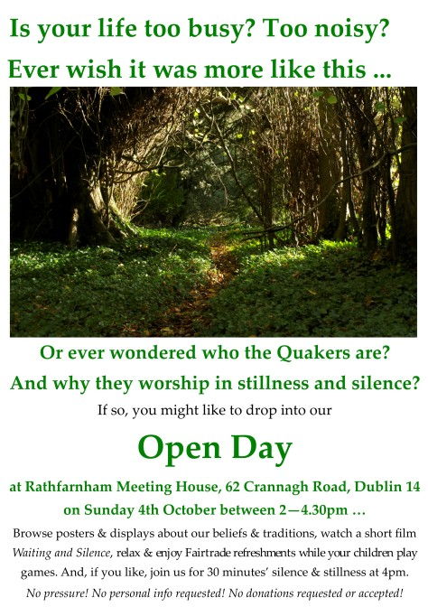Open Day Rathfarnham 4 Oct 2015