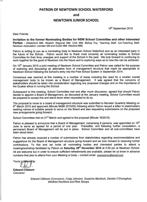 Letter from Patron of Newtown School